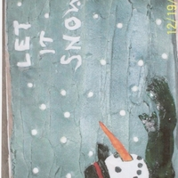 Let It Snow Cake I made this for a Christmas Party...White cake with Buttercream icing, Fondant snow and snowman and airbrushed and hand painted