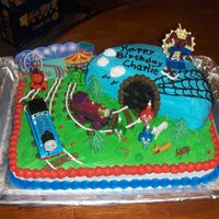 Thomas The Train Chocolate with buttercream. I got idea that came with cake topper and the tunnel from CC My grandson wanted a Thomas Cake for the longest...