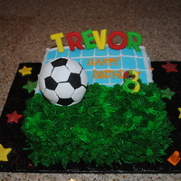 Soccer Ball 8 in square cake covered in half fondant and buttercream for grass. Ball is formed from RK treats! Fun and easy!