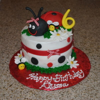 Lady Bug Cake 6 in round lemon cake, covered in Fondant. Ladybug hand formed from RK treats. Bumble bees done in fondant.