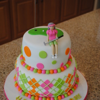 Ladies Golf Cake Original inspiration from pink cake box. This is two tiered cake with a little lady on top. For a golfers 70th birthday!