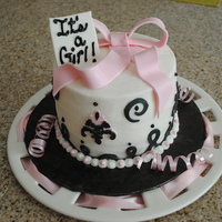 It's A Girl, First Attempt With The Cricut Cake  6 in round cake covered in buttercream. Tried to use my new cake cricut for the accents in Fondant. I was up till 2:00am trying to make the...