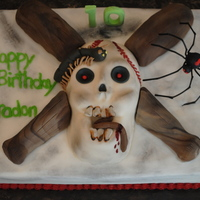 Scary Skull Had a request for a scary, baseball, gross cake. Thanx for the inspriation!!