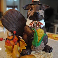 Thanksgiving Squirrel Centerpiece Squirrel carved from RK treats, covered in fondant, dressed like a pilgrim. Fun all day workshop taught by Susan Carberry. He will be our...