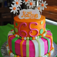 65 Birthday Party 2 tiered cake in buttercream, with fondant accents and flowers. Super simple, love the color combo!