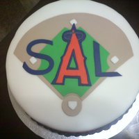Anaheim Angels B-Day Cake All fondant decorations.