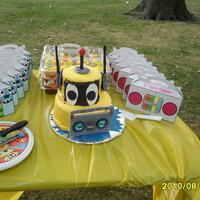 "Yo Gabba Gabba Plex 2 Tier- 2-6"" round and 3-8"" round cake with cupcakes"