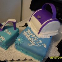 21St Birthday Purse And Shoe A roll purse and matching shoe on boxes.