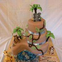Safari Animal Baby Shower Cake
