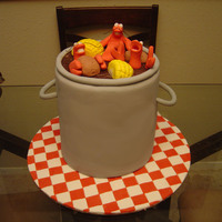 Crawfish Boil Cake 4 Layers, all fondant and gumpaste. This was my first cake!www.mrfondant.com