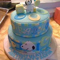 Snoopy Cake Snoopy cake for my friend's baby shower. the design was based on the border, blanket and lampshade from her registry ...
