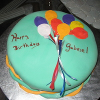 Baloons Chocolate cake and frosting. Buttercream and fondant for the balloons