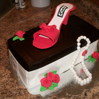"Shoe Box Cake With Pearls And Roses Birthday cake. Next time I make this I'll panel it. i think it turn out ""crisper"""