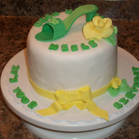 Kick Up Your Heels It's Your Birthday small cake with gum paste shoe and flower decorations