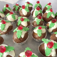 Mini Puddings fruitcake made into balls, dipped in chocoolate with fondant leaves & a glace cherry on top. very yummy :)