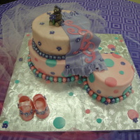 "Polka Dot Cake This was a last minut request for a baby shower cake with polka dots. The 6"" is a spice cake with cream cheese flling, the 8"" is..."