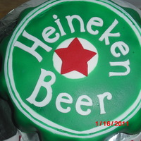 Heineken Beer Cap   Butter cake with Strawberry/Banana filling, covered in MMFondant, everything is edible