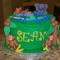 Sean's Jungle Vanilla cake with MMF/gumpaste animals.