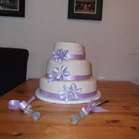 Ivory And Lavender Floral Cake Ivory and Lavender Floral Wedding cake, I made this for my brother in law for his big day