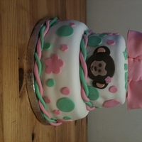 Mod Monkey Girl Cake   Baby shower cake