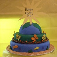 Happy Earth Day 2010! My first fondant covered cake...