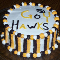 Iowa Hawkeye Football Cake Hawkeye cake for first game of the season. Buttercream frosting, chocolate and yellow marbled cake.