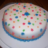 Fondant With Buttercream Decorations First time using fondant. Used Funfetti cake, and wanted to have the outside match it :)