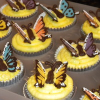 Butterfly Cupcakes Buttercream frosting with chocolate butterflies.