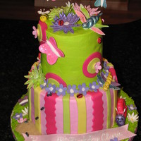 Girly Bugs Made this for a little girls 4th Birthday. She loves bugs! Chocolate cake with buttercream icing. Bugs and flowers are out of gumpaste and...