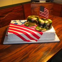 Military Goin Away Cake  I made this cake for two of my cousins that were going away to the Army and Air Force. The cake is covered in buttercream, the hats are...