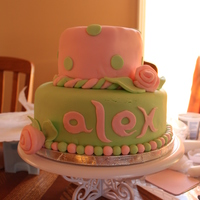 Alex's Christening Pink And Green Cake Inspired by another cake I saw online... Client wanted something similar to it... Underneath lies Devils Food Cake and Vanilla Buttercream...