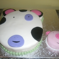 Cow And Piggy Birthday Cake Another birthday cake inspired by the invitation for a 1st. birthday party