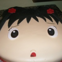 "Ni Hau Ki Lan This is a 12"" cake, shaped to resemble the face shape of the cartoon character. Covered in fondant and details painted with edible..."