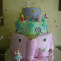 "Pink Elephant This cake was inspired by the Doris Day movie ""Jumbo"" one of my granddaughter's favorite."