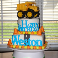 "Dump Truck Birthday Cake Dump truck cake made using all MMF. The bottom tier is 8"" square and the top is 6"" round. The phrase ""Happy Birthday""..."