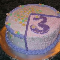 Third Birthday Customer wanted a cake with the number 3 on it. Made number and flowers from fondant/gumpaste.