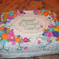 Retirement Cake 11x15 white almond sour cream cake with raspberry fillling.