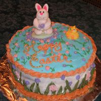 Easter Cake Darn-good chocolate cake, strawberry/creamcheese filling. Fondant rabbin, piped chick.