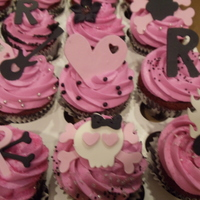 Pink And Black Girl Cupcakes  I didnt get much to go on other than she was 12 and loved pink and black. I just got a new cricut cartridge so this is what I came up with...