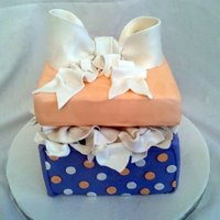 Bridal Shower Gift Box Cake gift box cake. brides colors are purple and orange