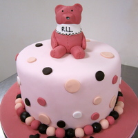 Pink Polka Dot Baby Shower With Pink Teddy Bear