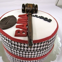 Alabama Football Cake For A Judge houndstooth is an edible image and the gavel is gumpaste