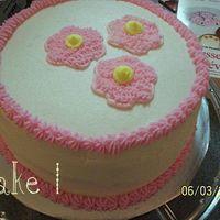 Wilton Course 1 Cake This is my 1st cake from Wilton Course 1. I think this would have been much better if I had centered those flowers a little bit better. But...