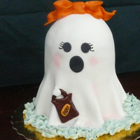 Girly Ghost Chocolate cake with Fudge Frosting. Fondant details.