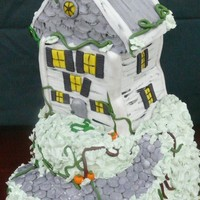 Haunted House On The Hill Chocolate cake with Fudge Frosting. Fondant and IMBC.