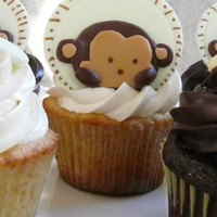 Peek A Boo Monkey Cupcakes for a baby shower that matched the bedding. Vanilla with Vanilla IMBC and Chocolate with Ganache.