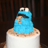 Cookie Monster Cake My son begged for a cookie monster cake after I had bought everything to make his lion cake for the birthday party. So, I made him a little...