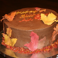 Fall Birthday My mom requested a chocolate cake/chocolate icing with fall leaves on it for her 75th birthday. This is what I came up with. It is a 10&...
