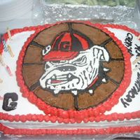 Ga. Bulldog Birthday Cake   Drawed on wax paper with icing,then frozen,and placed on cake.
