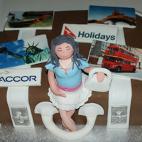 Travelling Suitcase Travelling Suitcase with Edible Imaging and Gumpaste Travelling Girl.... TFL
